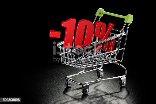 511190632 istock photo Shopping cart with 10 % percentage 509308696