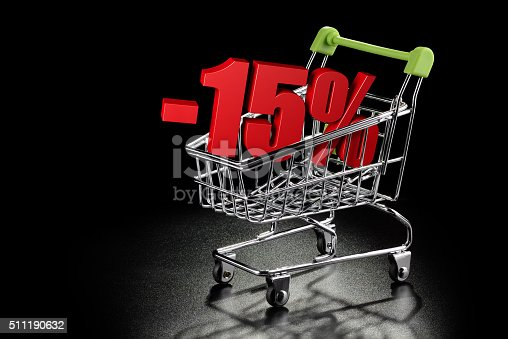 511190632istockphoto Shopping cart with 15 % percentage 511190632