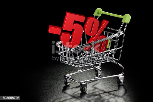 511190632 istock photo Shopping cart with 5% percentage rate 508658796