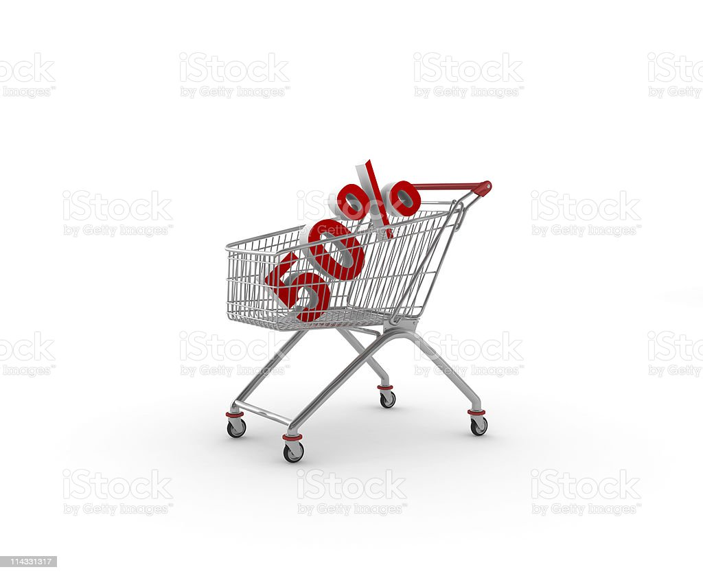 Shopping Cart with 50% Discount royalty-free stock photo