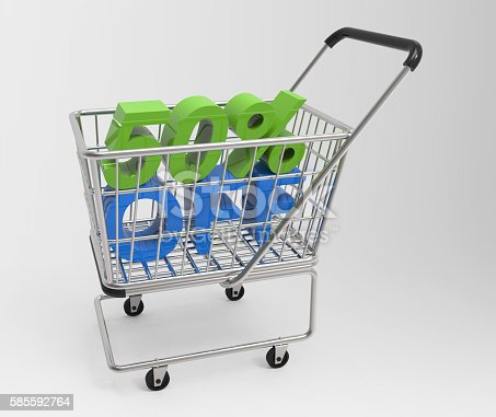 Shopping cart with 50% off isolated on white background.