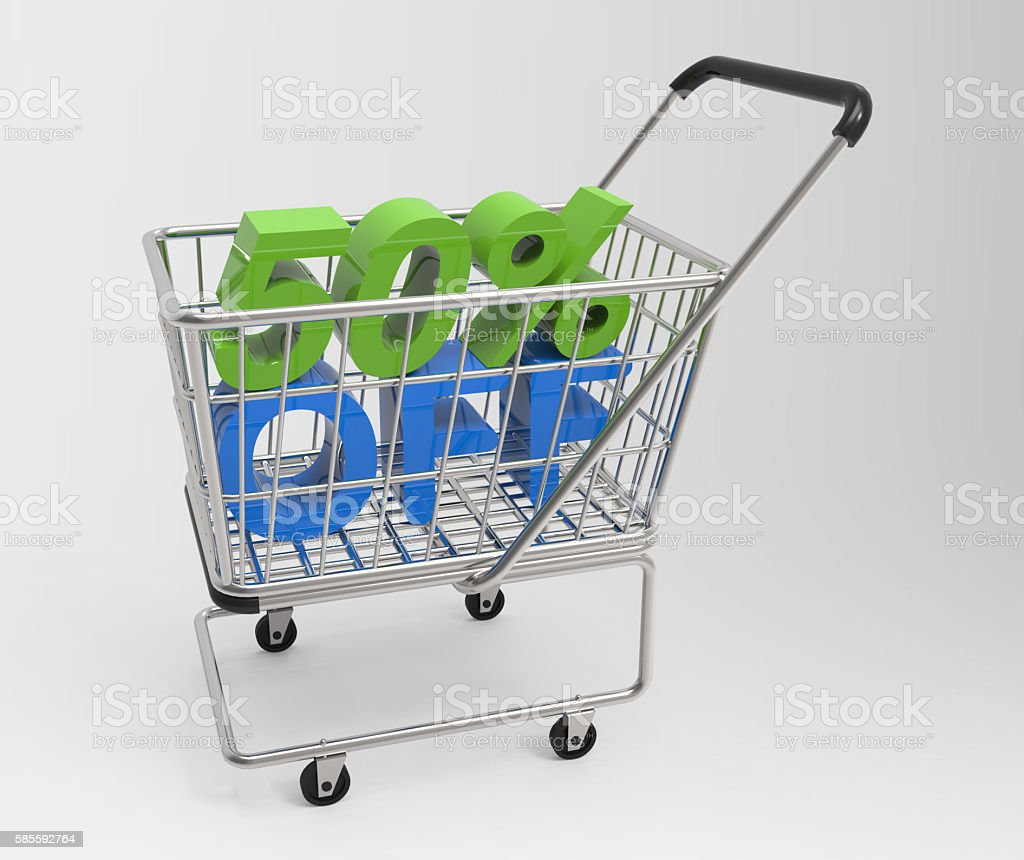 Shopping cart with 50% off stock photo