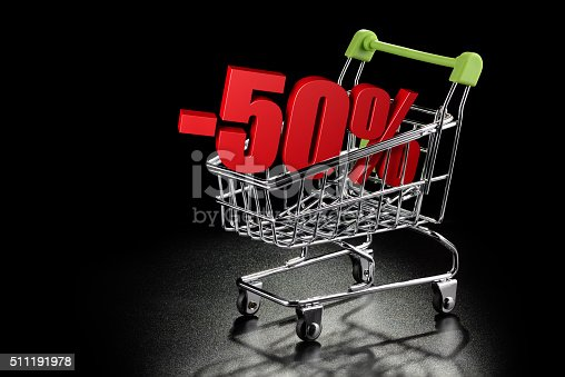 511190632 istock photo Shopping cart with 50 % percentage 511191978