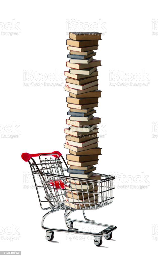 Shopping Cart with a Full of Books stock photo