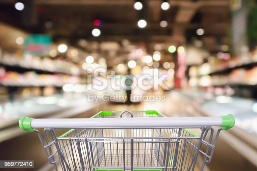 1072974214 istock photo shopping cart with Abstract supermarket grocery store refrigerator blurred defocused background with bokeh light 959772410