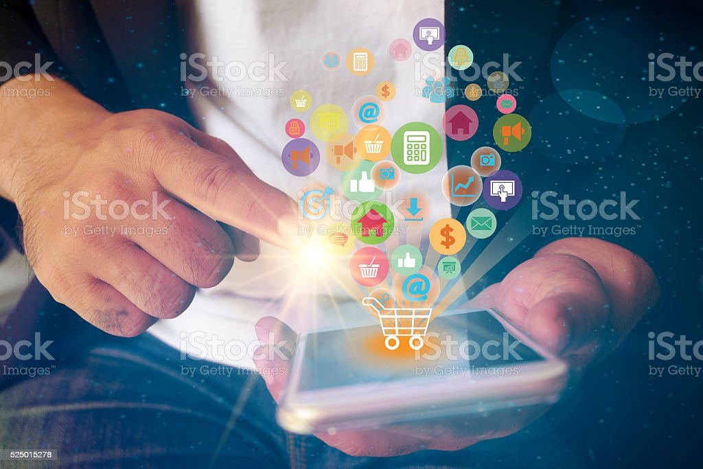 shopping cart with application software icons on mobile , busine shopping cart with application software icons on mobile , business concept,  shopping online concept , business idea Basket Stock Photo