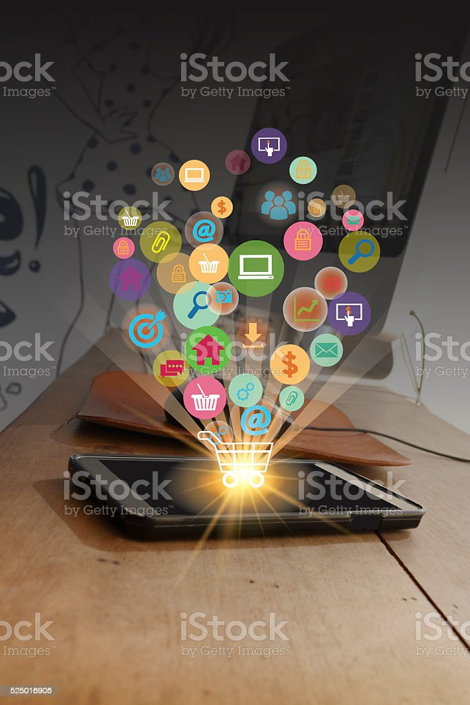 shopping cart with application software icons on mobile , busine stock photo
