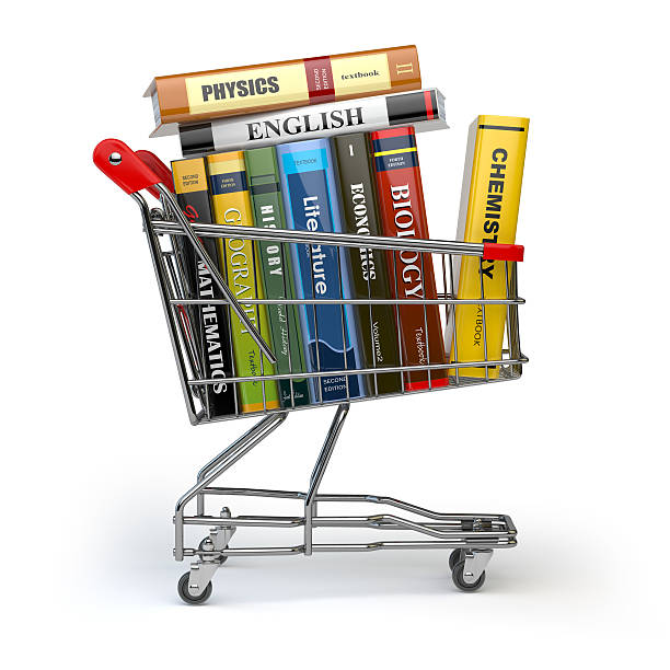 Shopping cart with books isolated on white. Textbooks. stock photo