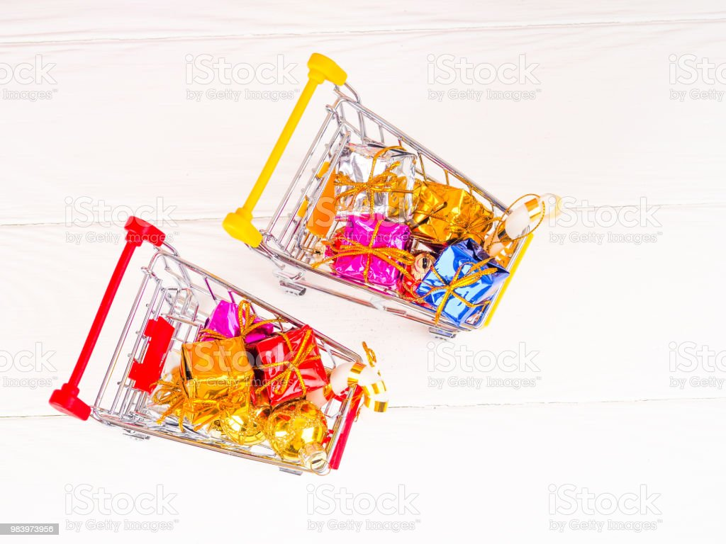 Shopping Cart With Christmas Gifts And Presents Christmas And New ...