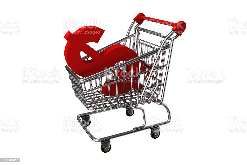Shopping cart with Dollar Sign royalty-free stock photo