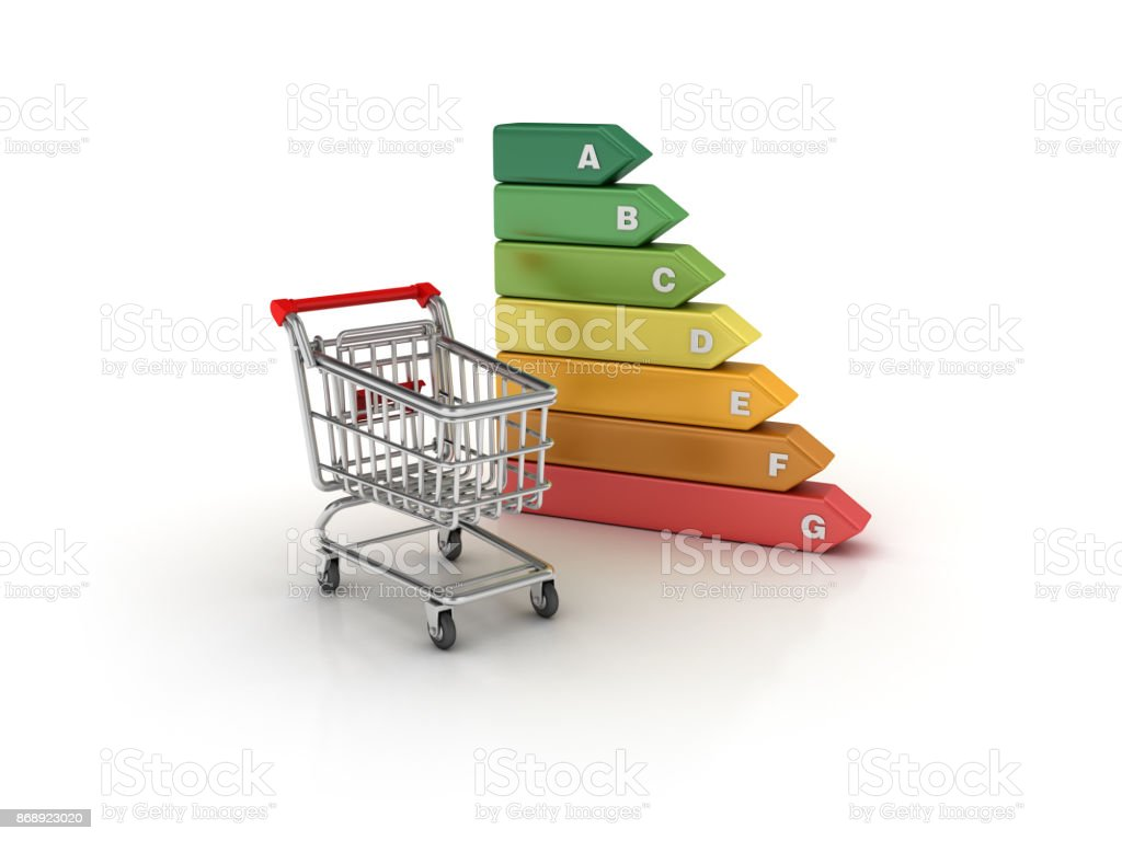 Awe Inspiring Shopping Cart With Energy Efficient Diagram 3D Rendering Stock Photo Wiring 101 Swasaxxcnl