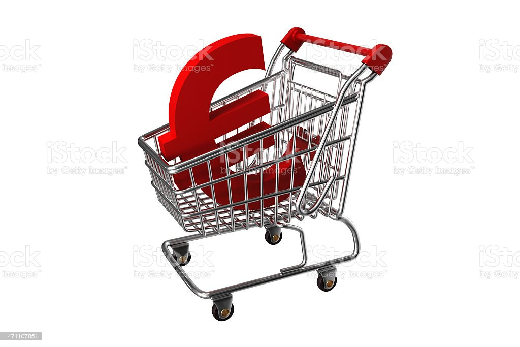 Shopping cart with Euro Sign royalty-free stock photo