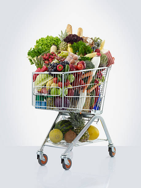 shopping cart with food - full stock photos and pictures