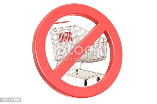 istock Shopping cart with forbidden, prohibition sign. 3D rendering isolated on white background 689112566