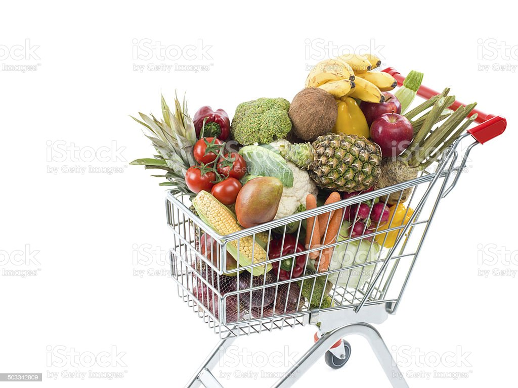 Shopping cart with fruits and vegetable; stock photo