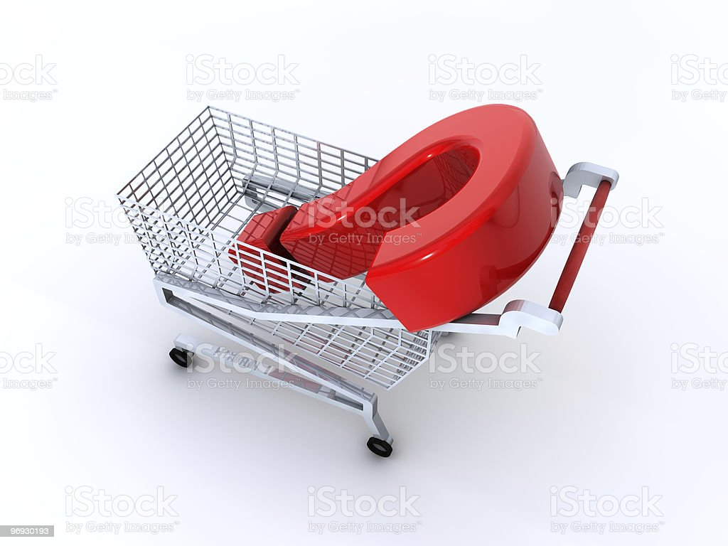 shopping cart with green question mark? royalty-free stock photo