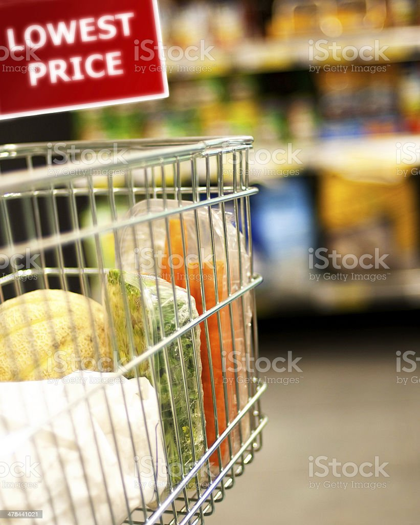 Shopping Cart with Lowest Price Sign stock photo