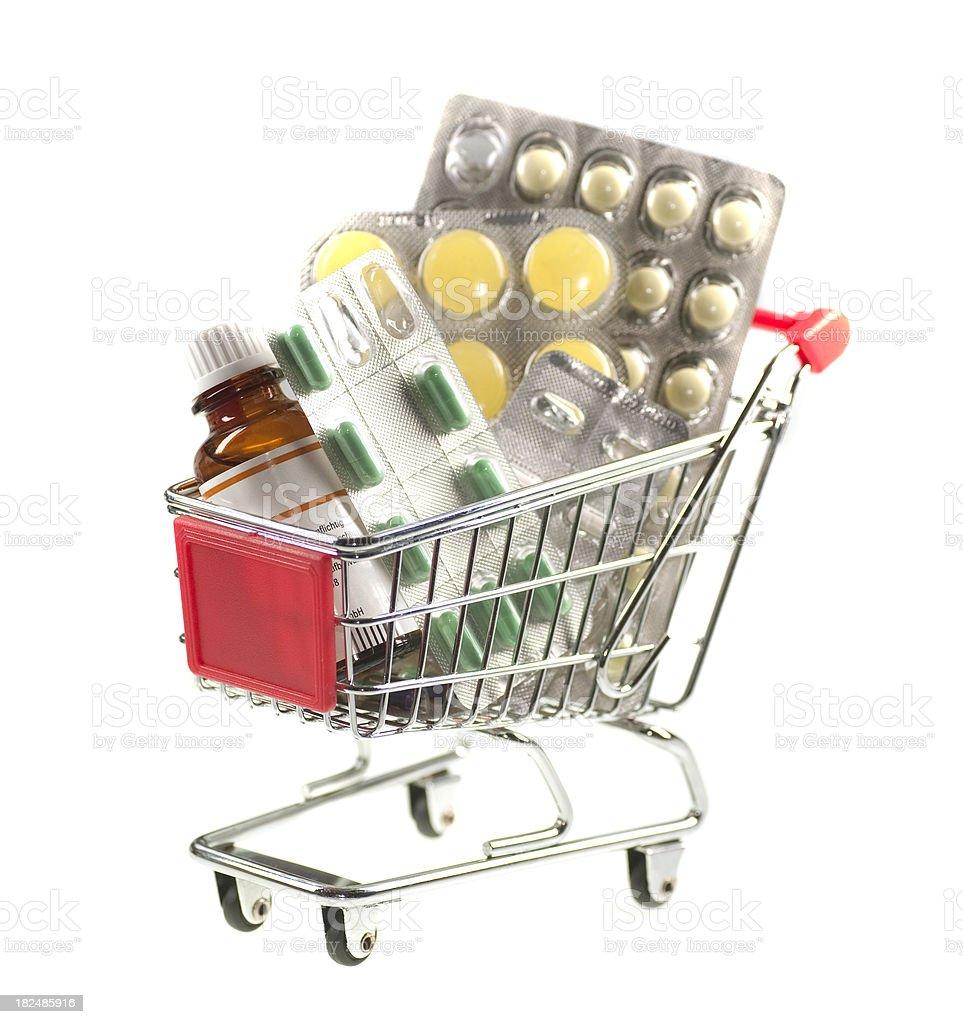 shopping cart with medicine - Einkaufswagen mit Medikamenten stock photo