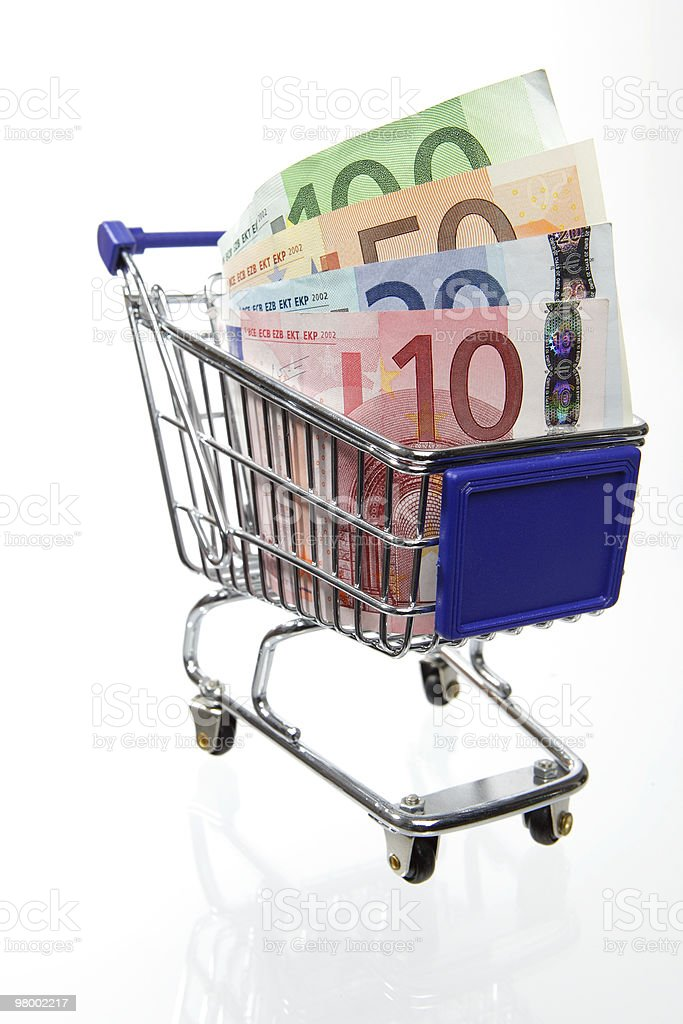 shopping cart with money royalty free stockfoto
