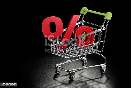 511190632 istock photo Shopping cart with percentage sign 508658660