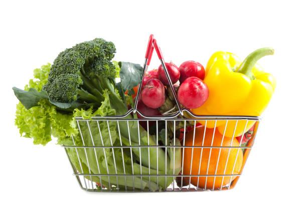 Warenkorb mit perfekte bunte veganes Produkt – Foto