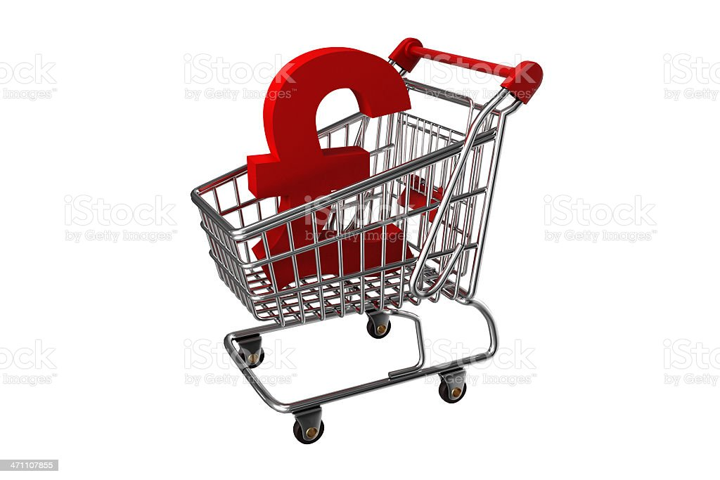 Shopping cart with Pound Sign royalty-free stock photo
