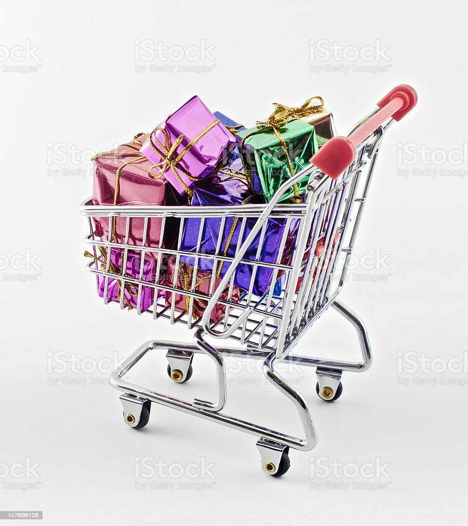 shopping cart with presents royalty-free stock photo