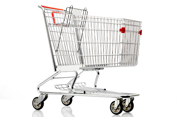 Shopping cart with red details on a white background stock photo