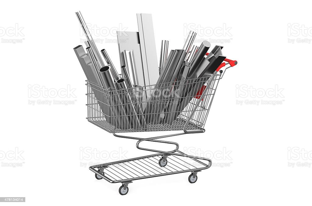 shopping cart with rolled metal stock photo