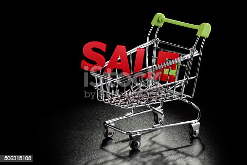 511190632istockphoto Shopping cart with Sale letters 506315108