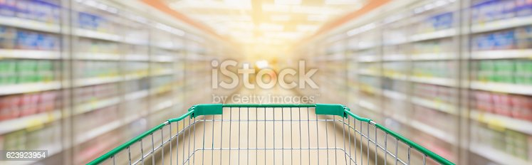 istock Shopping cart with supermarket aisle blur background 623923954