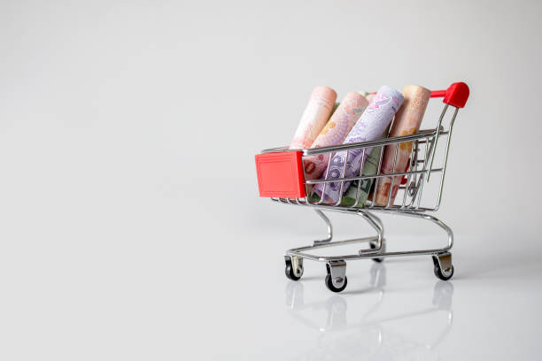 shopping cart with the money (Thai money) on white background – zdjęcie