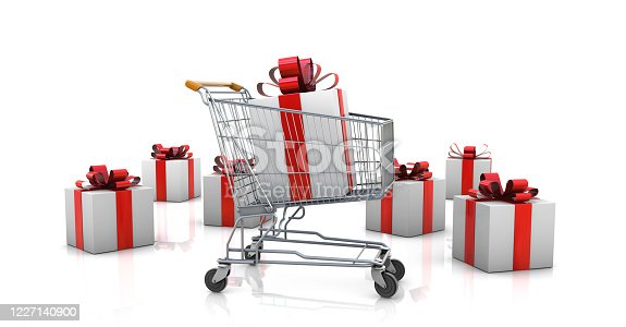 Shopping cart with wrapped presents