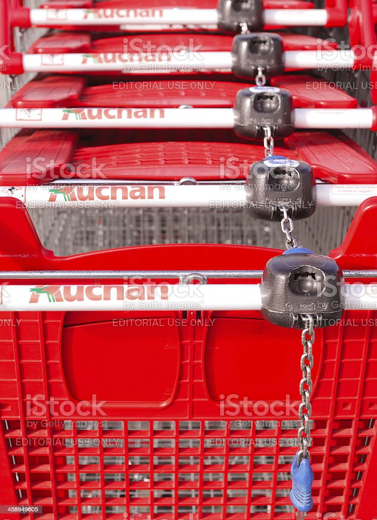 Shopping Carts At An Auchan Supermarket France Stock Photo