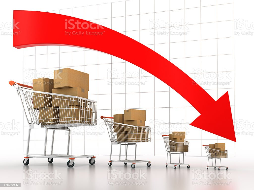 Shopping carts decreasing in size (Clipping path included) stock photo