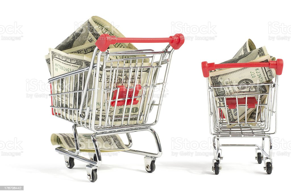 Shopping Carts Filled with Money royalty-free stock photo