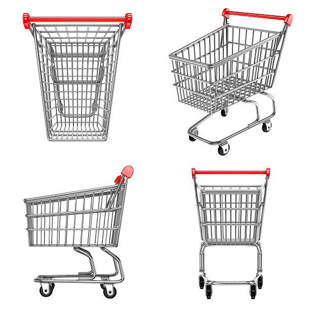 shopping carts icons shopping carts in front side top and perspective views cart stock pictures, royalty-free photos & images