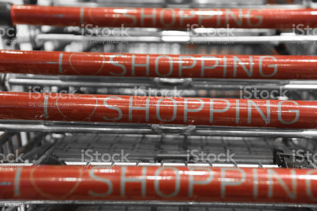Shopping carts in the supermarket stock photo