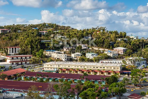 istock Shopping Center at the Charlotte Amalie Cruise Port in St Thomas, United States Virgin Islands (USVI), Caribbean 1245853343