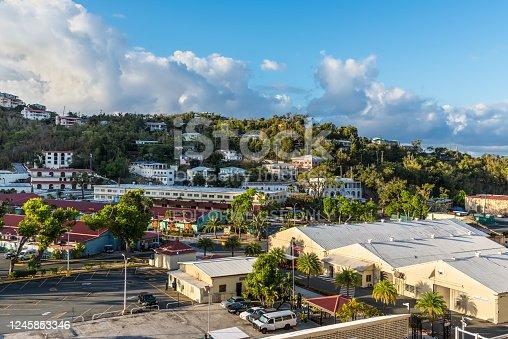 istock Shopping Center at the Charlotte Amalie Cruise Port in St Thomas, United States Virgin Islands (USVI), Caribbean 1245853346