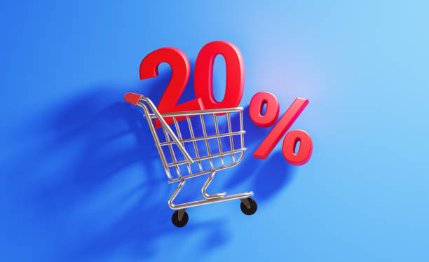 Shopping Concept- 20 Percent Discount Sign In A Shopping Cart stock photo