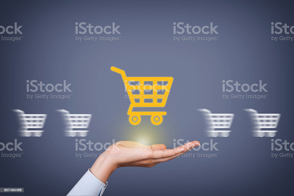 Shopping Concept on Human Hand - foto de stock
