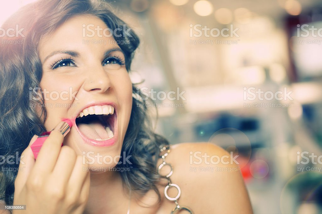 shopping cosmetics with pleasure stock photo