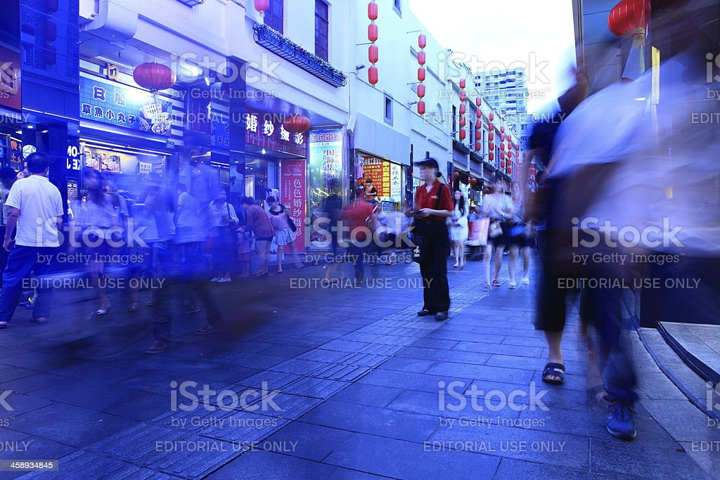 Shopping crowd of busy street in Shenzhen royalty-free stock photo