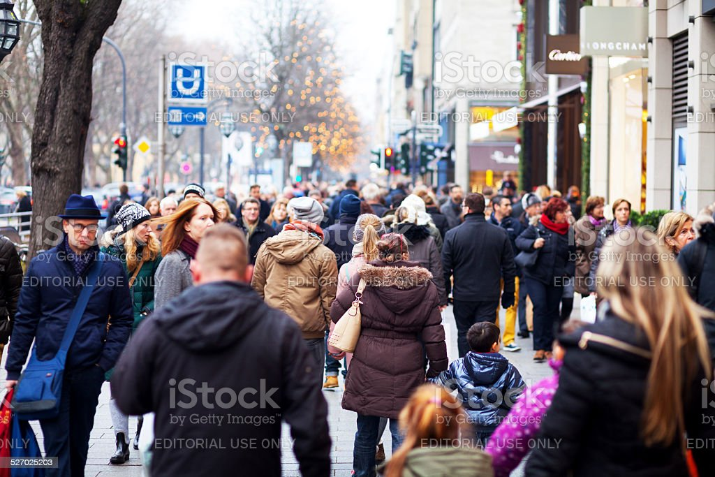 Shopping crowd on Kö at christmas time stock photo