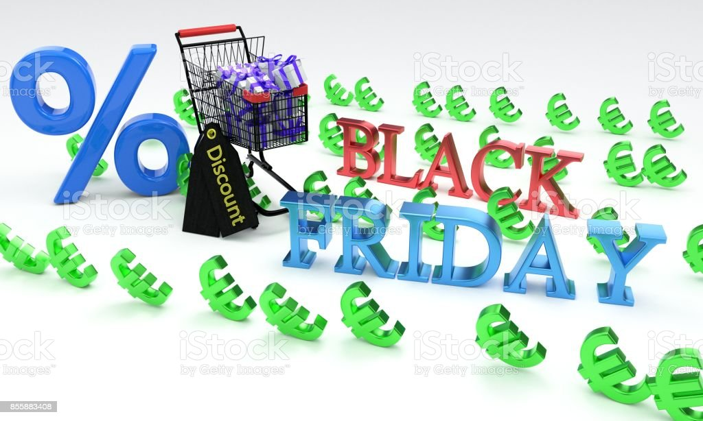 Shopping discount black friday, 3d stock photo