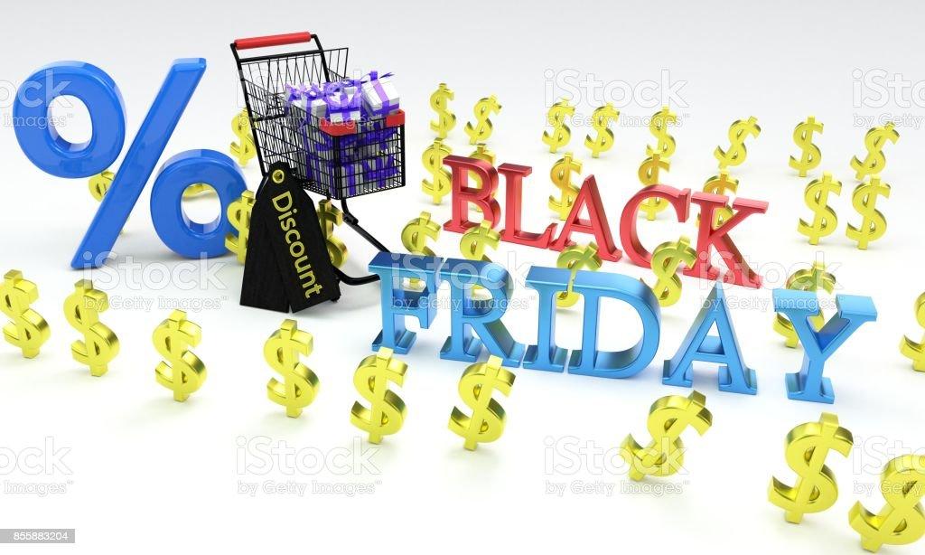 Shopping discount concept, 3d stock photo