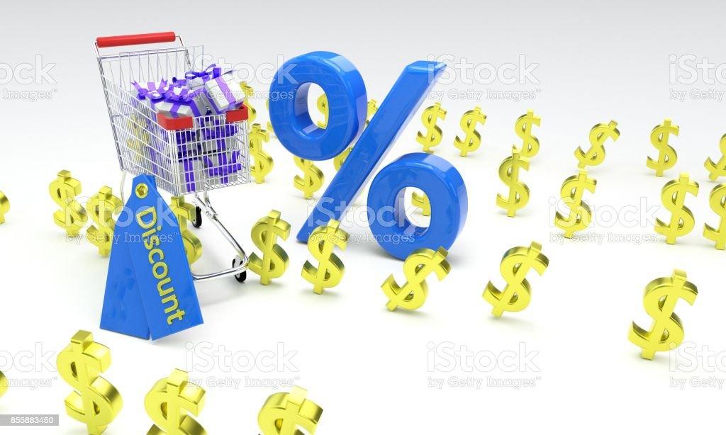 Shopping discount concept, 3d r stock photo