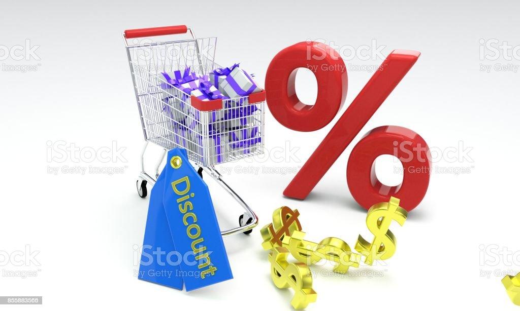 Shopping discount concept, 3d rendr stock photo