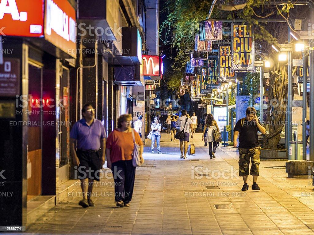 Shopping District at Night, Cordoba, Argentina royalty-free stock photo